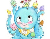 Ice Cream Buddies Art Print - Kaiju, ice cream, summertime