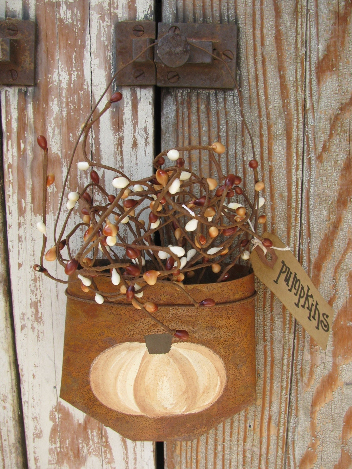 primitive cream pumpkin hand painted rusty tin hanging pocket cabinet knobs and more coupon code Cabinet Knobs and Handles