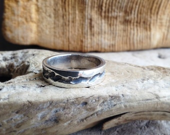 Rugged Canyon Ring for Men in Sterling Silver with Comfort Fit Band