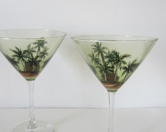 2 Hand Painted  Palm Tree Martini Glasses