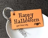 Happy Halloween with Dangling Spider Personalized Halloween Tags . 2 x 3.5 inches