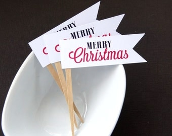 Merry Christmas Flag Cupcake Toppers, Party Picks or Skewers (Set of 12)