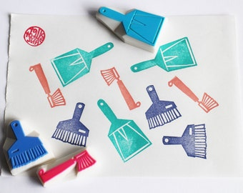 cleaning tool stamps. house hand carved rubber stamp. bottle brush, broom, dustpan stamp. scrapbooking. mother's day crafts. set of 3
