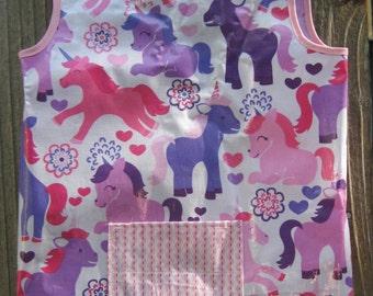Art Smock Apron - Girls Love Unicorns Wipe Clean Pink and Purple Unicorns Vinyl Apron - Fits 2T-4T