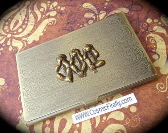 Brass Monkey Business Card Case Antiqued Brass Card Case Vintage Inspired Victorian Steampunk Card Case Vintage Inspired By Cosmic Firefly