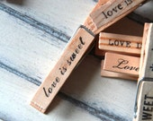 Clothespins - escort card holder, note holder, photo clipper - love is sweet (set of 12)