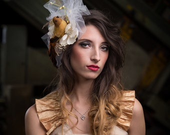upcycled accessories . fascinator . birdie told me . gold