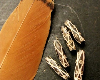 Carved Bone Tube  Beads 5 Ivory and Brown Native American Southwestern Tribal Cream Jewelry Bead Necklace Bead #138