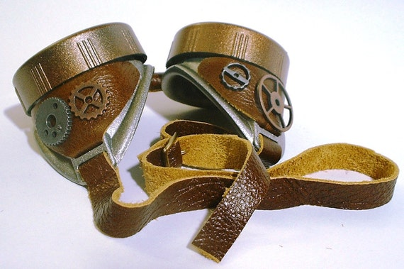 Steampunk Goggles with metal gear accents and brown leather