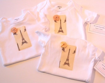 Paris Baby Girl Onesie- Eiffel Tower Newborn Creeper