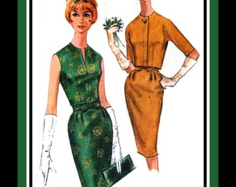 Vintage 1961 -Swanky Wiggle Dress- Cropped Jacket -Sewing Pattern- Bow Belt -Jewelry Neckline- Three Gore Skirt -Size 12 -Rare
