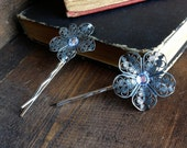 Silver Antiqued Flower Bobby Pin Button Vintage Style Hair Clips