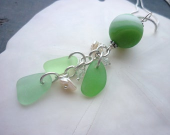 Marble Sea Glass Necklace Green Beach Glass Necklace Sea Glass Jewelry Sterling Pearls Pendant