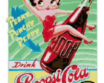 Betty Boop Boopsi Cola Counted Cross Stitch Pattern
