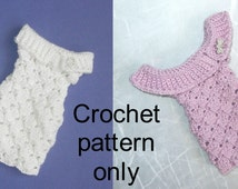 """Crochet pattern (PDF) for sweater dress with shawl collar for 16"""" fashion doll (2 collar variations)"""
