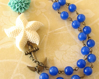 Statement Necklace Nautical Jewelry Beaded Necklace Anchor Necklace Cobalt Blue Necklace Flower Jewelry Gift For Her