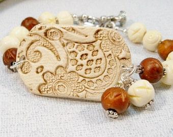 Pottery Bracelet | Ceramic Bead Cuff Bracelet | Ceramic Beads |  Trendy Bracelet | Womens