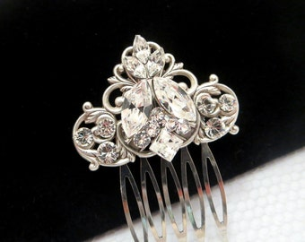 Antique silver hair comb, Bridal hair comb, Wedding headpiece, Simple hair comb, Rhinestone hair comb, Hair clip, Swarovski crystal comb