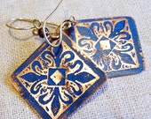 Etched Copper Earrings Blue Medallions