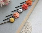 Coral, Peach, Orange, Yellow, Ivory Flower Hair Pins. Wedding Bridal Hair Pins, Floral Hair Accessories. Bridesmaids Gifts, Set of Six (6)