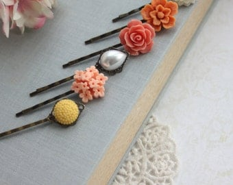Coral, Peach Hair Pins Orange Yellow, Ivory Hair Pins. Wedding Pins Bridal Hair Pins Floral Hair Accessories Bridesmaid Gifts Set of Six (6)