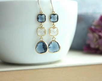 Sapphire Blue, Navy Blue, Clear Glass Earrings. Dark Blue Gold Framed Glass Drop Dangle Long Earrings. Modern, Blue Wedding Bridesmaid Gift,