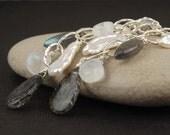 Long silver earrings, black rutilated quartz, tourmalated quartz, moonstone, labradorite, Biwa pearl, black and white earrings - Specter