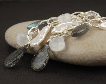 Long silver earrings, black rutilated quartz, tourmalated quartz, moonstone, labradorite, Biwa pearl, black and white earrings - Spectre