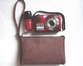 SALE Leather Bag Leather Wristlet / Leather Pouch / Camera Case / Cosmetic Bag Soft Bag