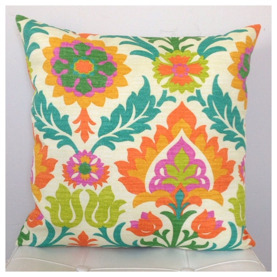 outdoor floral pillow cover orange turquoise citrine pillow. Black Bedroom Furniture Sets. Home Design Ideas
