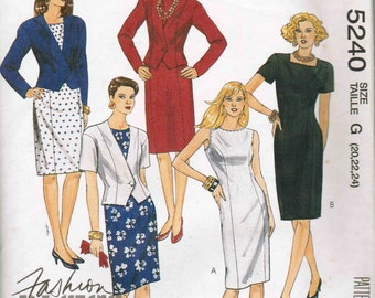 Jacket and Fitted Square Neckline Dress McCalls 5240 Misses Sewing Pattern Plus Size 20 22 24 Bust 42 44 46
