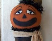 Primitive Halloween Jackolantern Witch Stocking Art Doll Door Greeter Hanging ofg, hafair, faap