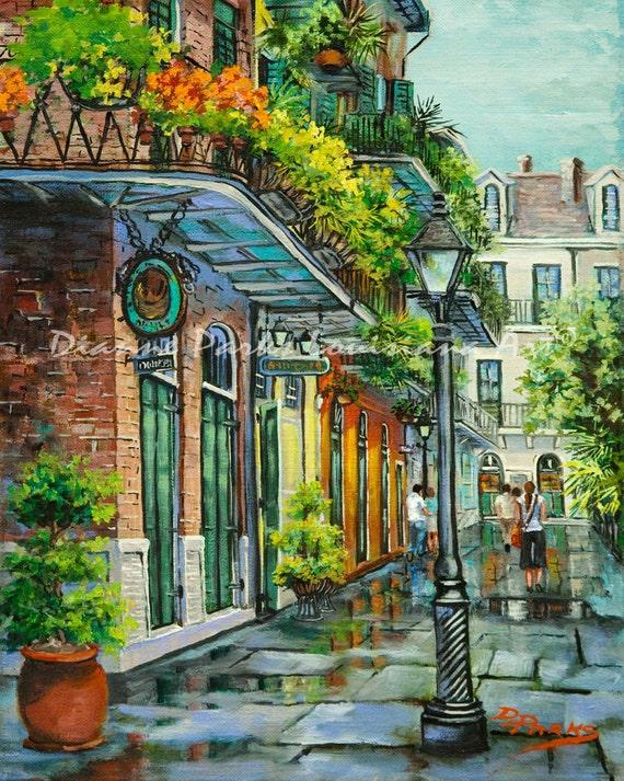 New Orleans Art Pirates Alley Iron Balconies by DianneParksArt