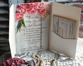 Vintage Romantic Pocketfold Wedding Invitaiton with Tulips on Old Door Handmade by avintageobsession on etsy