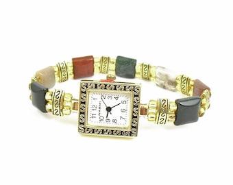Petite Fancy Jasper and Gold Glass Beaded Stretchy Bracelet Watch