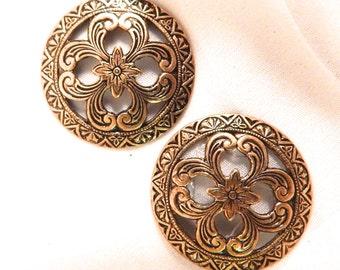 Brass Antiqued Domed Open Pattern Design Stamping (2)