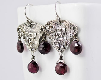 Garnet & Silver Chandelier Earrings Exotic Gypsy Earrings Eco Friendly Silver