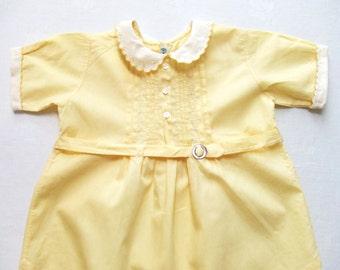 Yellow Baby Romper One Piece Handmade Vintage