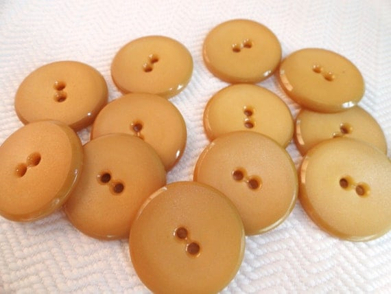 Wheat Vintage Buttons - 6 Large Mid Century 1 1/8 inch for Coat Blazer Jacket Sewing Knitting