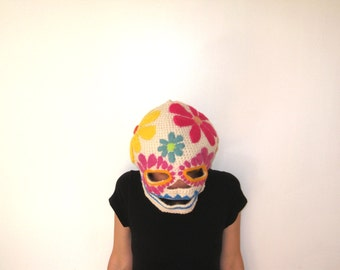 Sugar Skull Mask - Crocheted and Felted