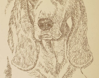 Basset Hound - Artist Kline draws his dog art using only words. Signed 11x17 Lithograph 33/500 - Your Dogs Name added Free