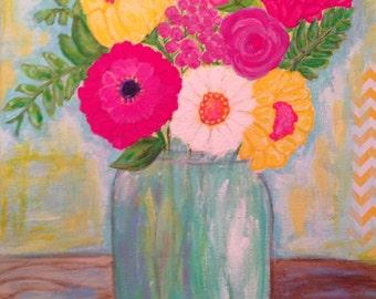 Flowers in Mason Jar Original Painting,Gardener 11x14 Colorful Flowers Acrylic Painting