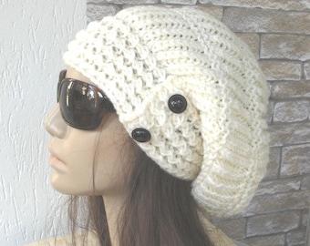 Knit Hat Slouchy Hat  Slouchy Beanie Girlfriend Gift   Women hat  Winter hat Womens Beanie  White Winter Accessories   Fashion Beanie Hat