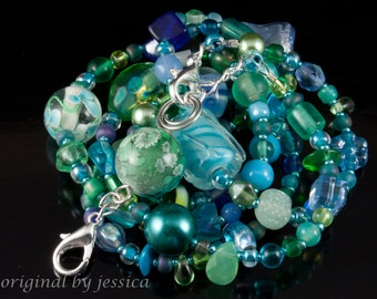 Monet's Water Lilies beaded lanyard