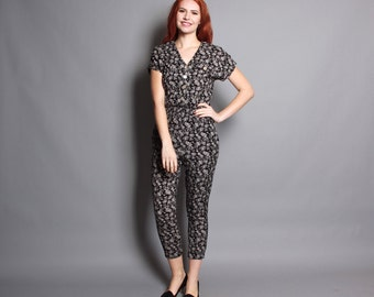 80s Fitted FLORAL JUMPSUIT / Black & White Cropped Romper, xs