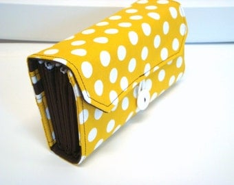 Cash Envelope Wallet   Dave Ramsey System  ZIPPER Envelopes Mustard Dots with Dark Brown