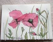 Red Poppies Watercolor Botanical Nature Art Card Blank Birthday Mothers Day