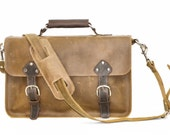 Industrial Men's Leather Messenger Satchel Shoulder Bag Briefcase Rustic Brown Carryall
