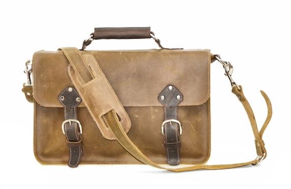 Industrial Men's Leather Messenger Satchel Shoulder Bag Briefcase Rustic Brown Carryall