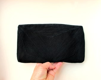 40s Vintage Korday Kor Day Clutch Purse Black Rayon Cord